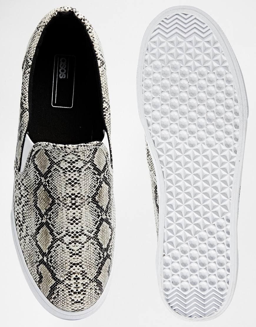531d9bc9705 Image 3 of ASOS Slip On Plimsolls With Snakeskin Effect | Shoes ...