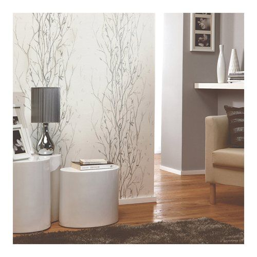 Papel de parede ramos branco cinza leroy merlin - Papel de pared leroy merlin ...