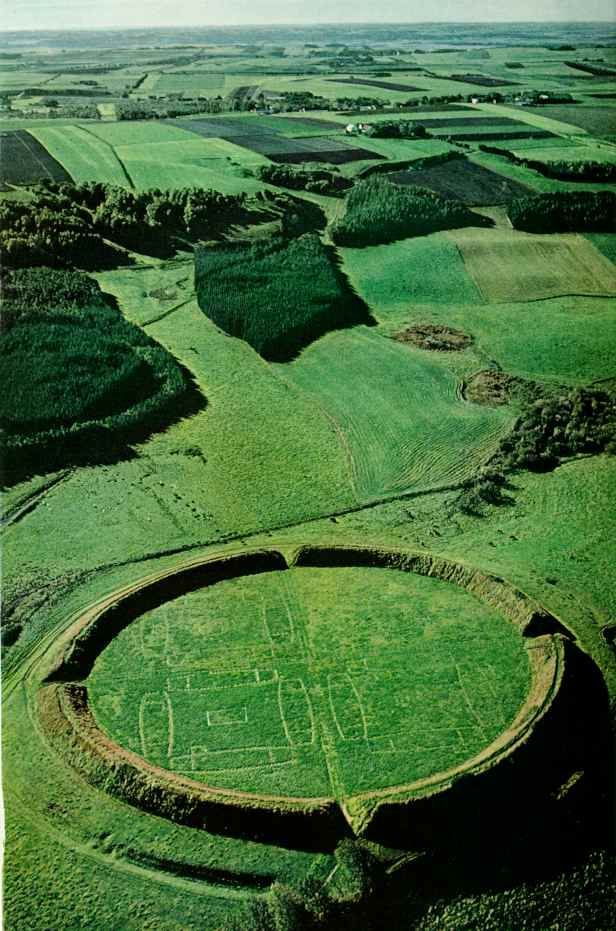 Viking Ring Fortress, Trelleborg Denmark. This reminds me of the viking game we used to play, Hnafatafl.