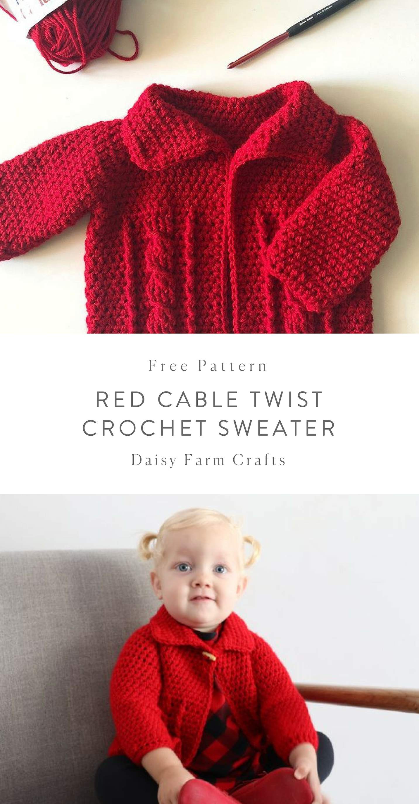 Free Pattern - Red Cable Twist Crochet Sweater | Tejidos | Sueter ...