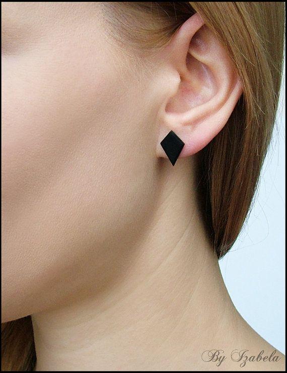 Black Stud Earrings Diamondshaped By Byizabela 8 00