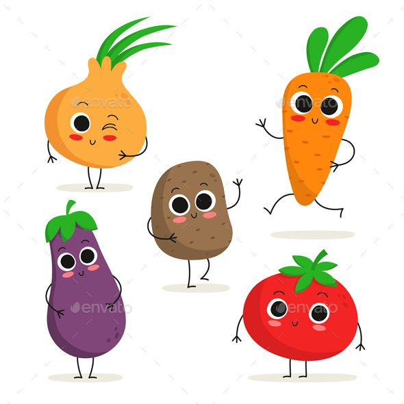 Vegetable Characters By Zhevasylieva Cute Set Of 5 Vegetable Charaters Onion Eggplant Potato Carrot Vegetable Cartoon Fruit Cartoon Vegetable Illustration