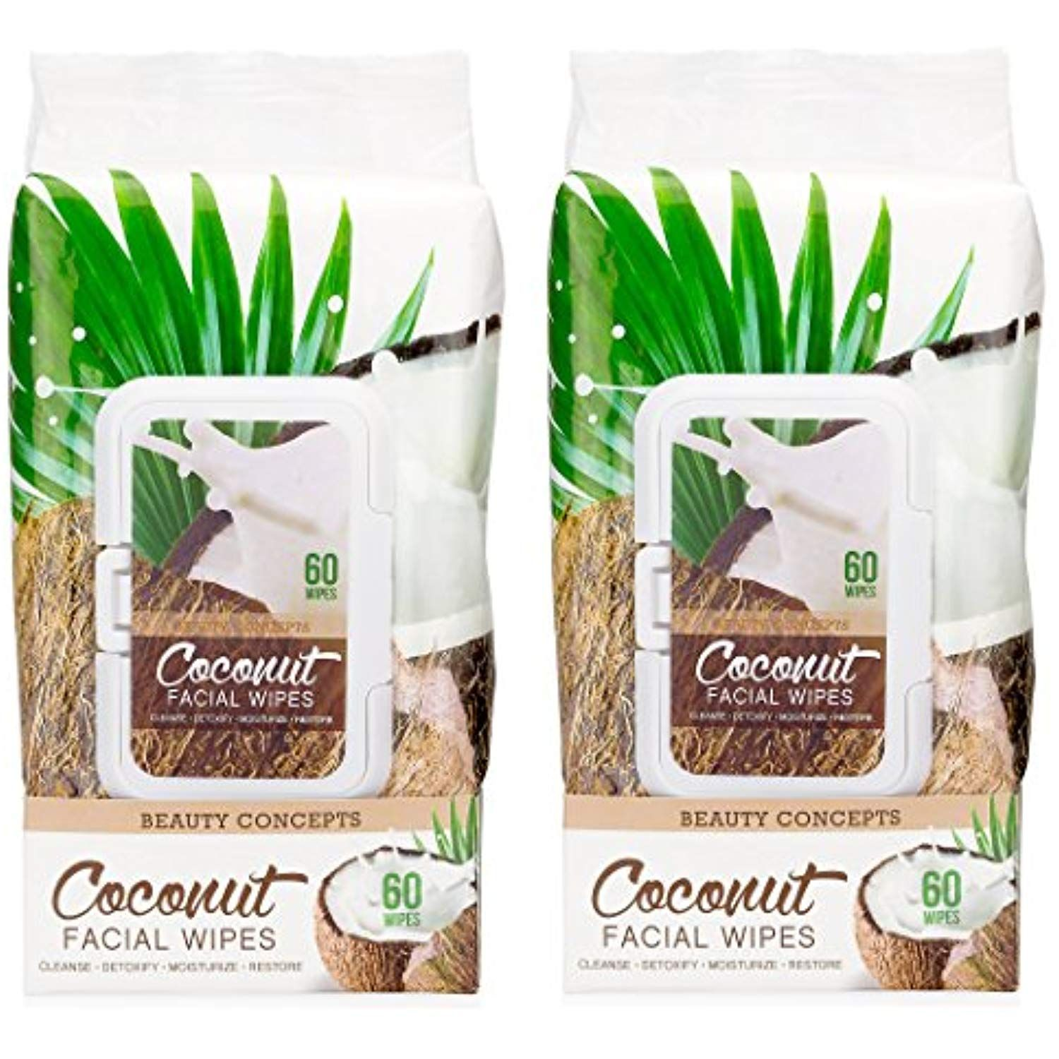 Beauty Concepts Coconut Facial Cleansing Wipes 60 CT