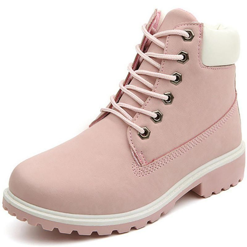 Lace Up Pink Flat Boots   Winter boots