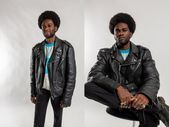 Black leather motorcycle jacket / Vintage oversized biker jacket / Men's leather motorbike ja…