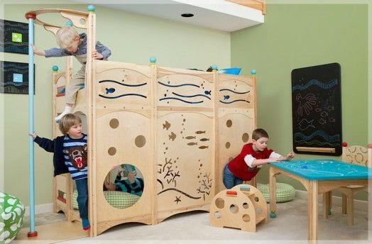 kinderzimmer gestalten bett spielplatz junge wasser meer muster, Wohnzimmer dekoo