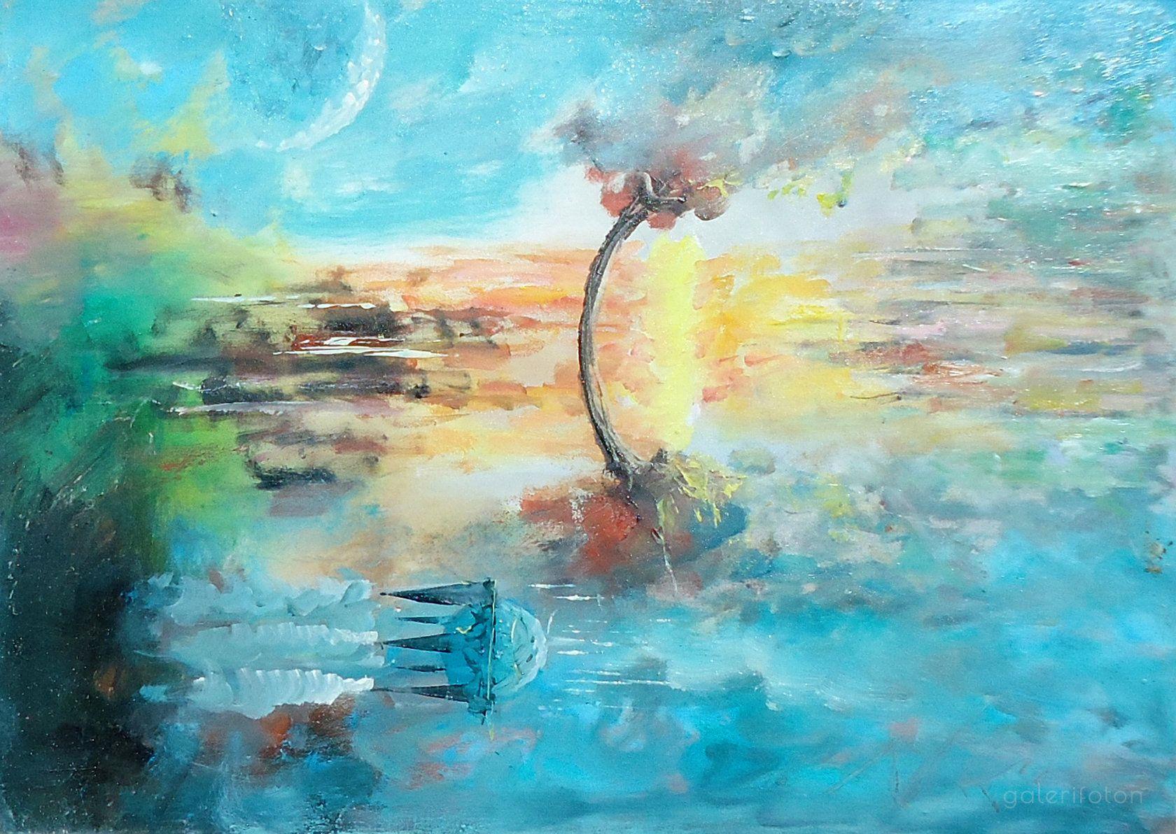 Bluescape Oil On Canvas 13x19