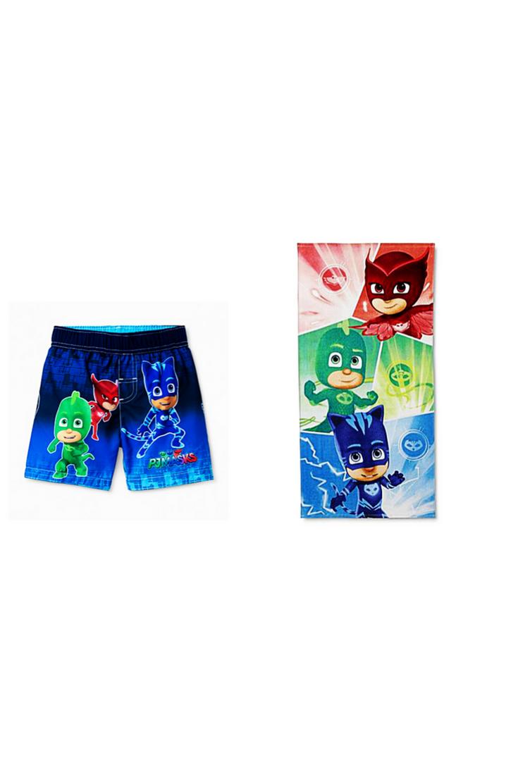 d48cd0638a Disney Junior PJMASKS Toddler Boys UFP50+ Swim Trunks Size 3T Plus  Character Beach Towel #PJMasks