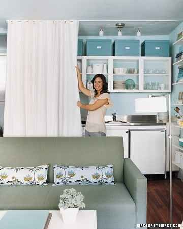 The Curtain Separator Works For A Kitchen Too Tiny Apartment Small Spaces Small Space Living