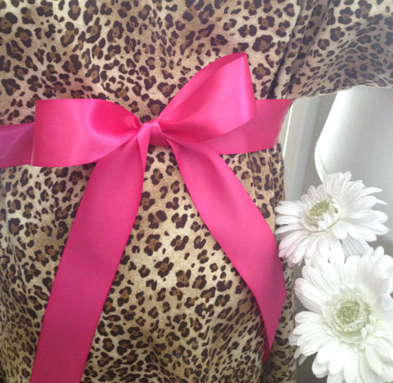 Maternity Hospital Gown - Cheetah Gown with Bright Pink Bow ...