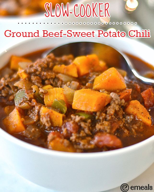 Paleo Slow Cooker Ground Beef Sweet Potato Chili Emeals Emealseats Paleo Slow Cooker Recipes Slow Cooker Ground Beef