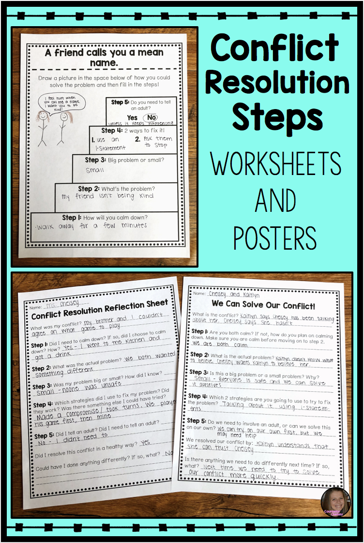 Conflict Resolution Worksheets And Posters   Conflict resolution worksheet [ 1120 x 752 Pixel ]