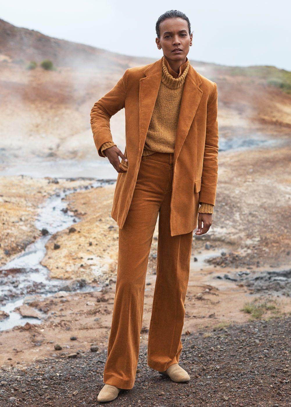 146b2372c86 Pantalon velours côtelé taille haute - Femme en 2019