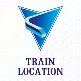 Abstract blue logo featuring a map marker with a moving