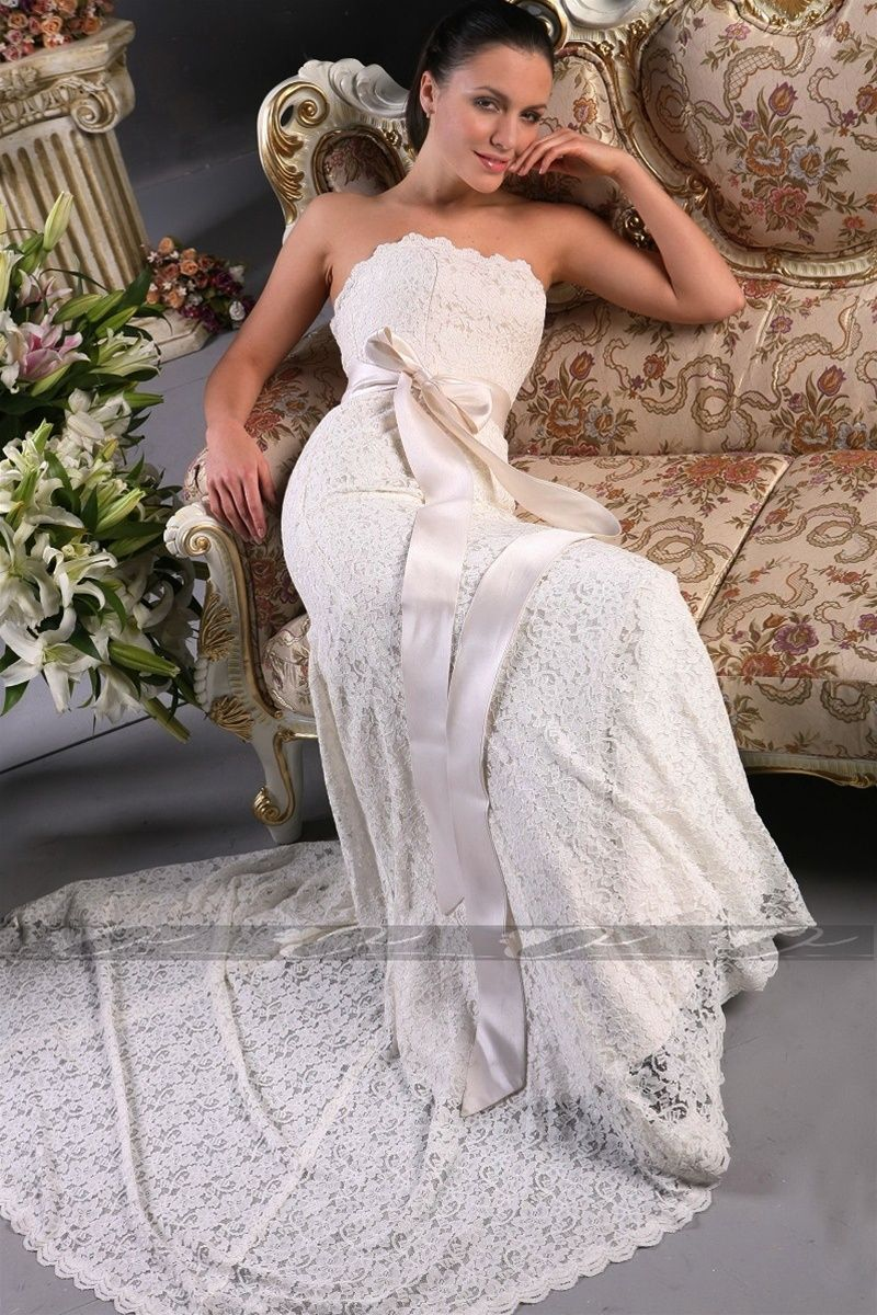 Beauty lace wedding dress without the ugly bow when i say i do
