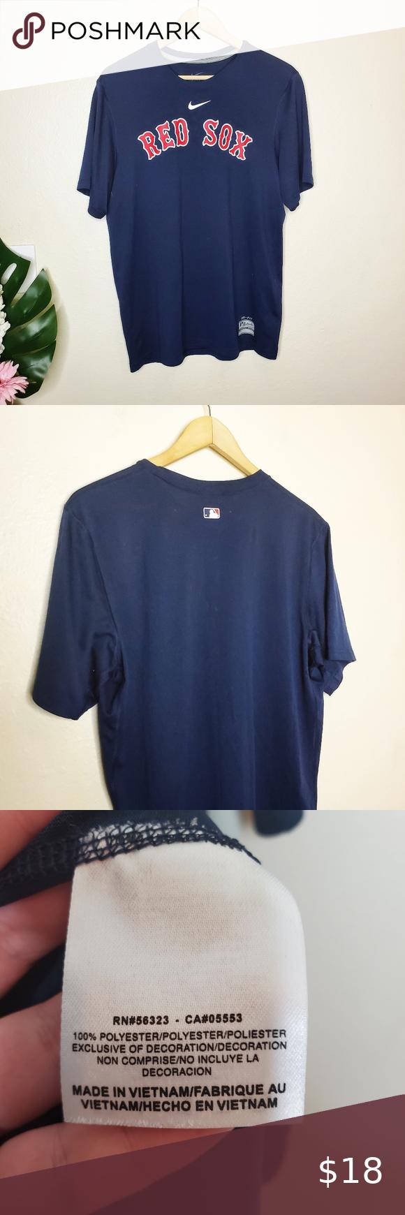 Boston Red Sox Mens V-Neck Dri Fit Pullover Jersey Shirt Small