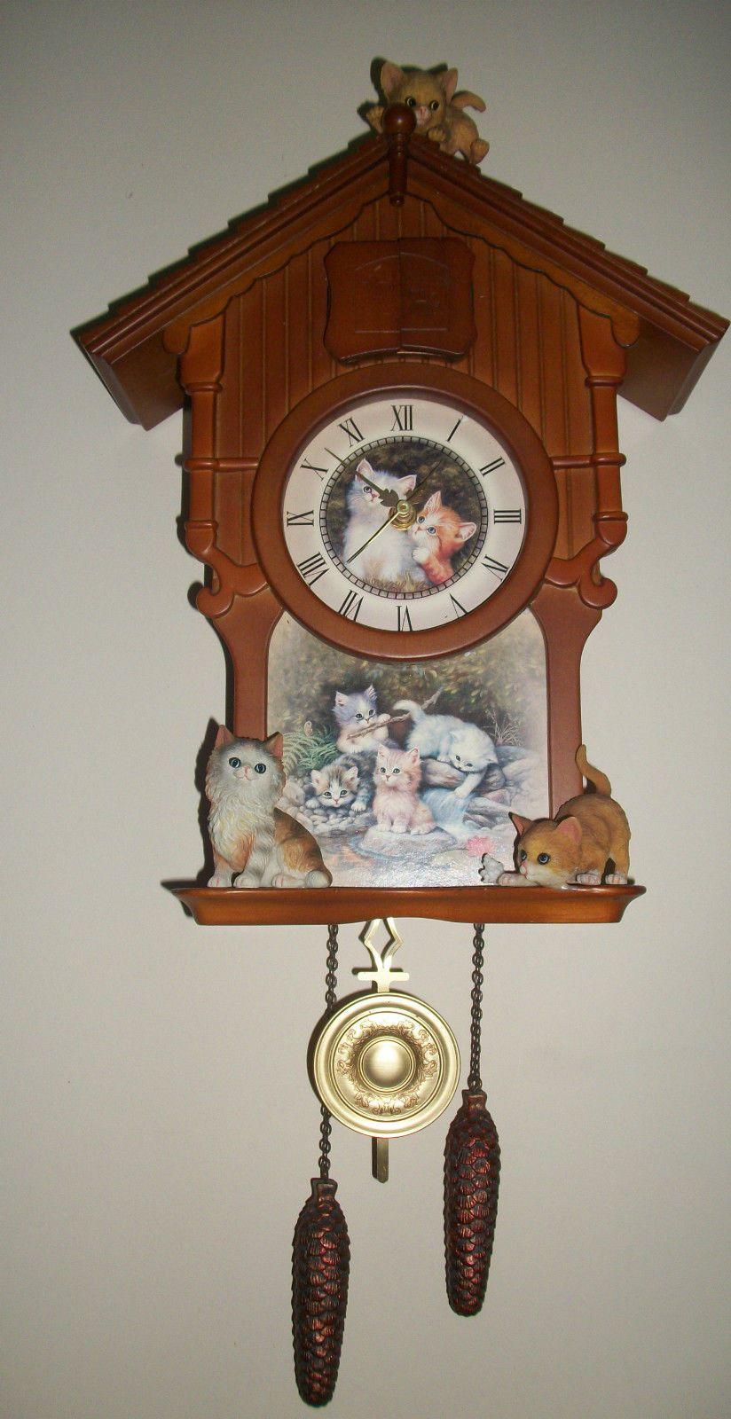 Just Beautiful Bradford Exchange Jurgen Scholtz Kitten Cat Art Cuckoo Clock Ebay