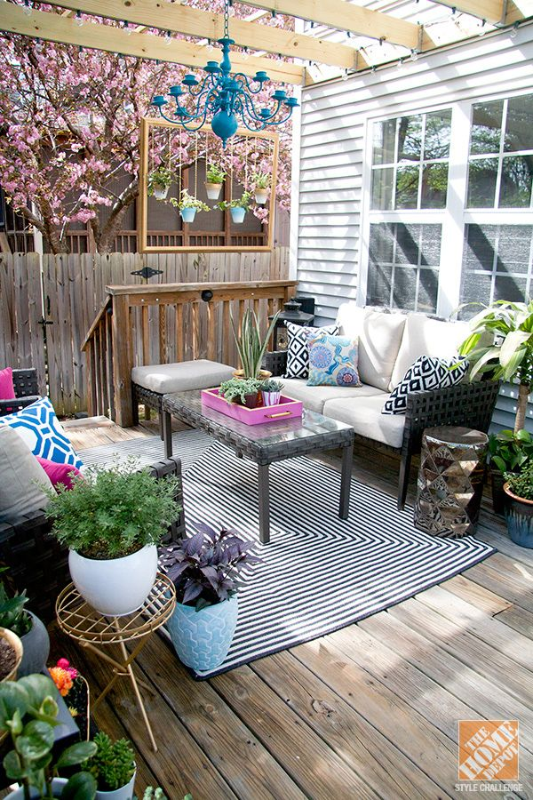 Patio Decorating Ideas  Turning a Deck into an Outdoor Living Room     Check out the post about our recently updated deck   pergola on the  Home  Depot Apron blog