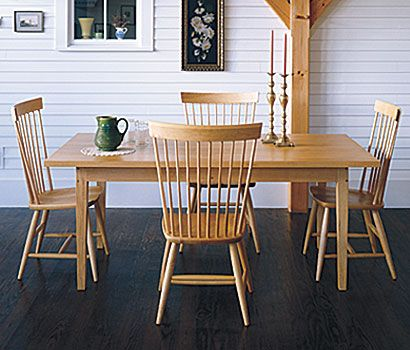kitchen - Mason sidechairs in solid oak shown with Chester dining table.