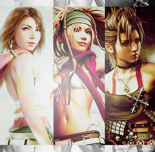 Yuna, Rikku and Paine. Official posters. Final Fantasy X-2.