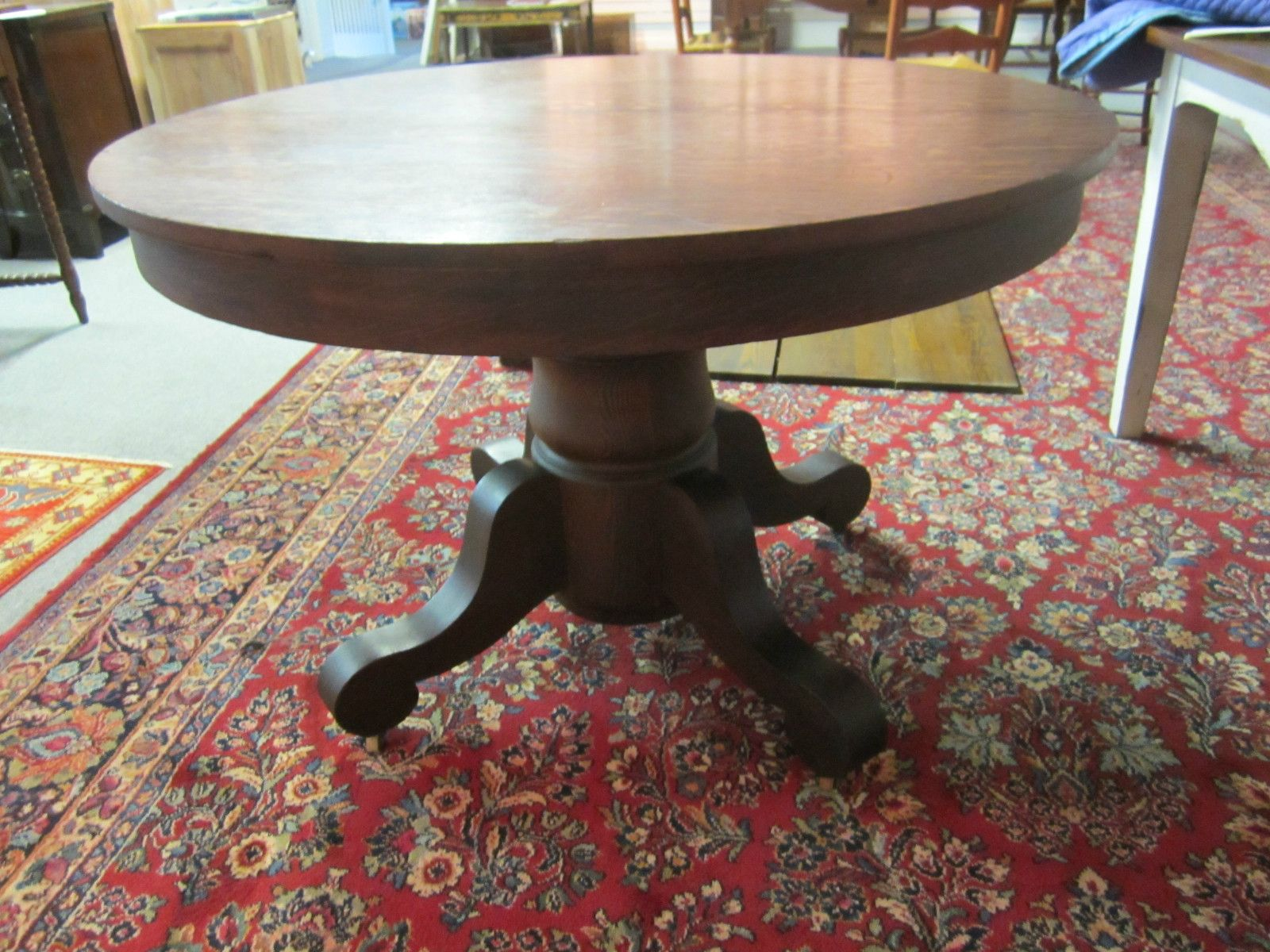 Antique Round Tiger Oak Table W 3 Leafs Ebay
