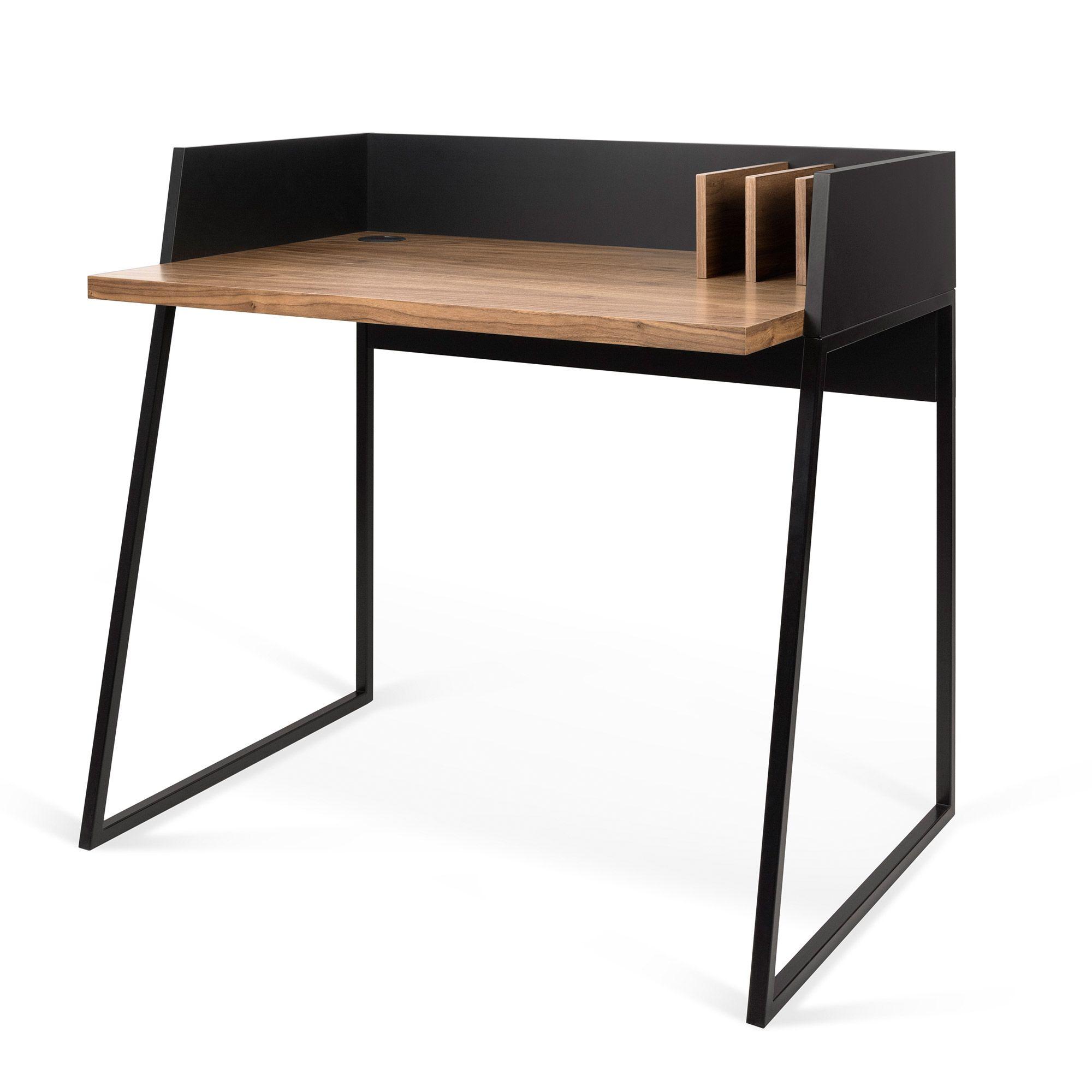 Bureau Design En Bois 3 Compartiments L90cm Volga Temahome Bureau Design Bureau Design Bois Petit Bureau Design