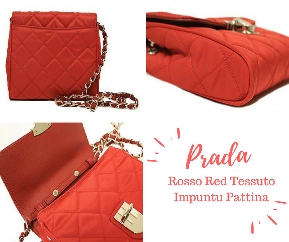 Prada BP0623 Papaya Orange Tessuto Impuntu Pattina Nylon and Leather Chain Crossbody  Bag -100% c16ca975b87df