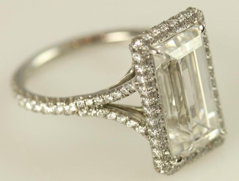gia certified 5 carat emerald cut diamond engagement ring platinum luxury engagement bride amazing wedding ring bph027 - Luxury Wedding Rings