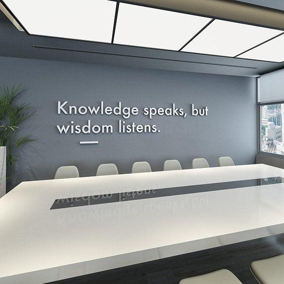 Wisdom Listens 3d Wall Art Office Decor Office Wall Art Meeting Room Office Art Wall Decor 3d Office Quotes Quotes Sku Kswl Office Wall Art Corporate Office Design Office Walls