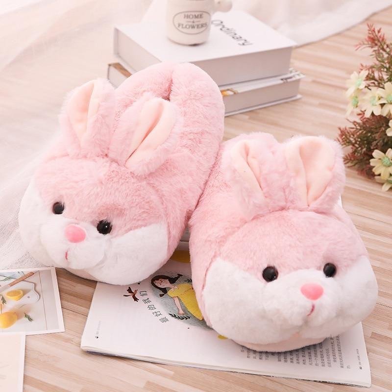 Photo of Women Winter Slippers Cute Pink Bunny Cartoon Design Warm Home Plush Head Silent Indoor Floor Adult