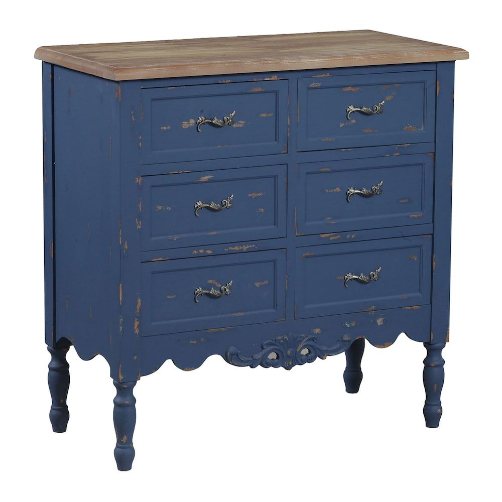 Piper Distressed Accent Chest Blue