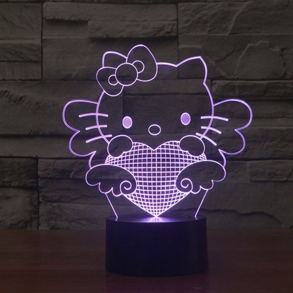 Hello Kitty Pattern Colorful 3d Led Lamp 3d Led Lamp Star Wars Night Light Hello Kitty
