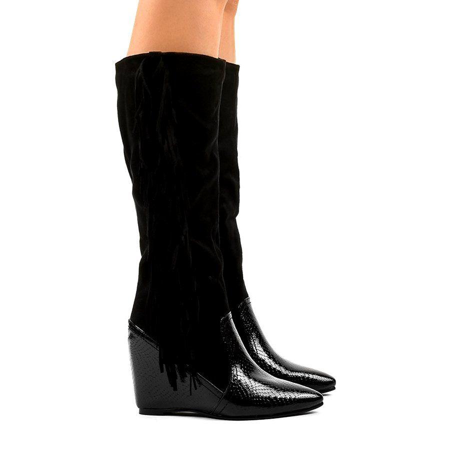 Zamszowe Kozaki Damskie Na Koturnie T81 Czarne Womens Boots Womens Suede Boots Boots