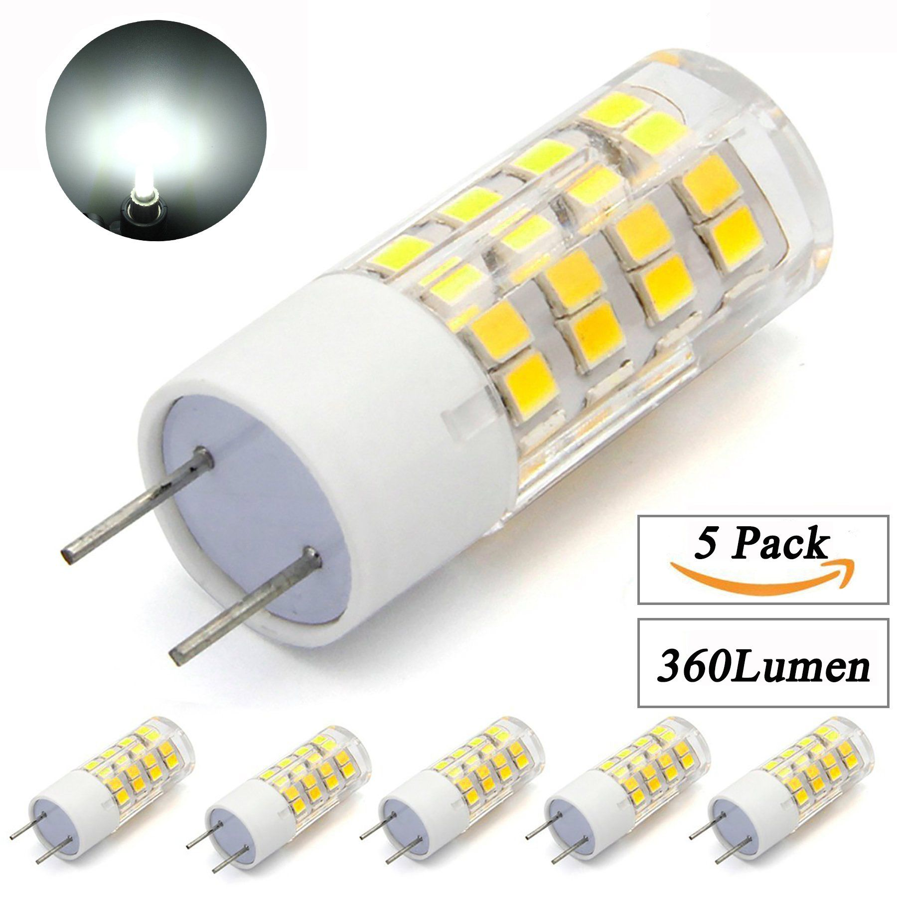Mcden G8 G8 5 Bipin 51led Ac120v White 6000k Dimmable 4w Led Bulbsreplace 35w Halogen Lamps5pack You Could Obtain Even More Led Bulb Halogen Lamp Light Bulb