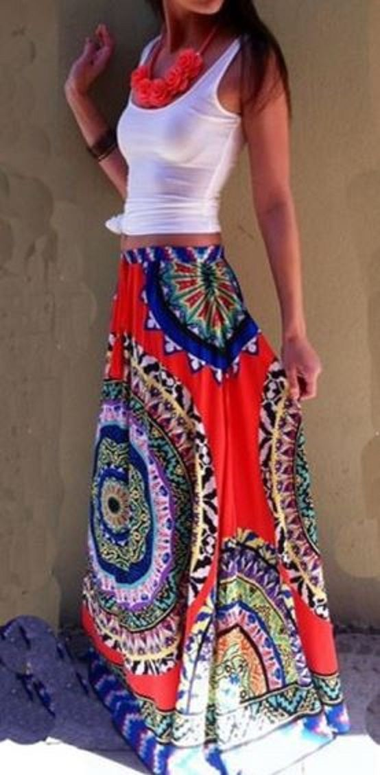 Love Love Love this Skirt! Gorgeous Colors! Red White and Blue Multicolor Floral Print Floor Length National Style Loose Maxi Skirt #Bright #Bold #Red #White #Blue #Tribal #Print #Maxi #Skirt #Fashion