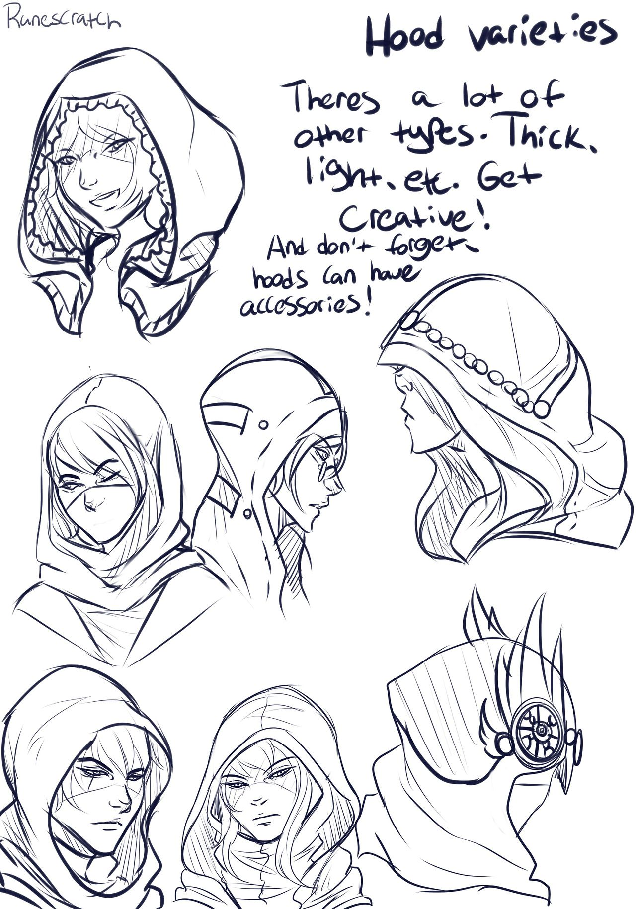 Silly Chicken Scratch, I've Been Asked A Lot About How I Draw Hoods