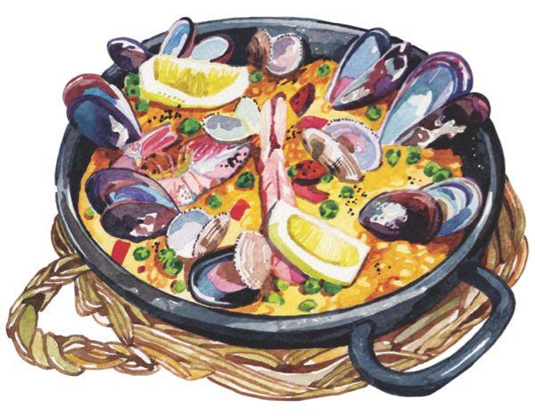 Dessin Paella paella illustration watercolour seafood mussels prawns | kitchen