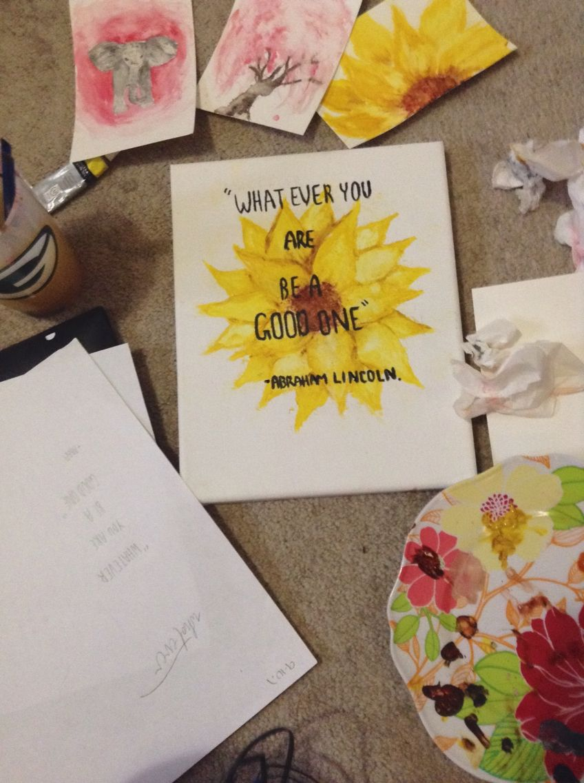 Watercolor sunflower. Simple diy art. Watercolor tree. First try at ...