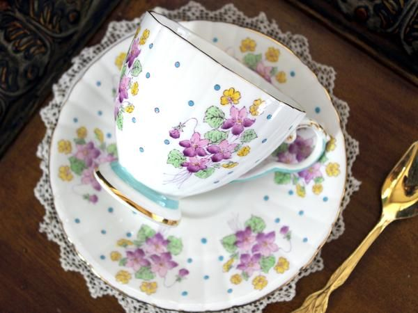 Rare Hand Painted Royal Grafton Estelle, Polka Dot Teacup, Turquoise Banding, Vintage Cup and Saucer. Base color is a white. Purple Violets and Polka Dots. Blue