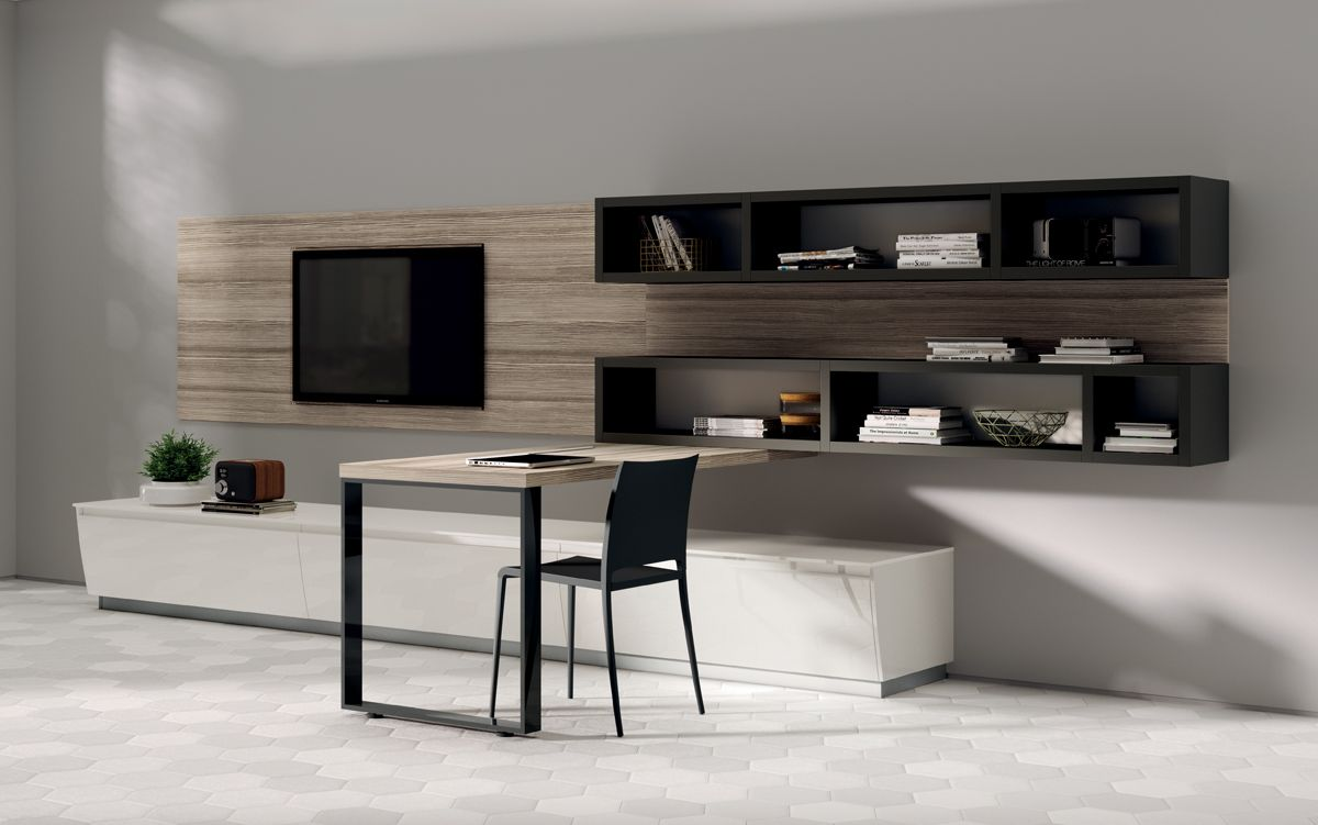 The Inclusion Of A Desk Area With HoldUp Support Makes This Living Room Solution Truly Complete