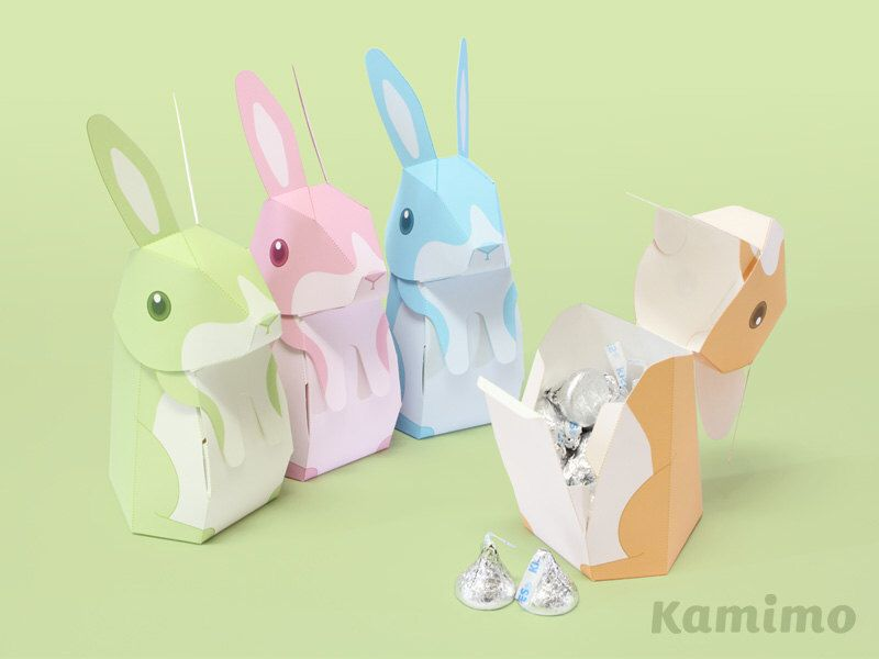 Easter bunny rabbit favor boxes gift boxes spring celebrations easter bunny rabbit favor boxes gift boxes spring celebrations printable paper craft pdf pastel colors negle Images