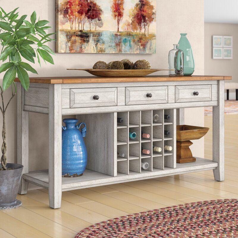 Fortville 62 wide 3 drawer rubberwood wood sideboard in
