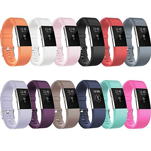 Fitbit Charge 2 Replacement Elastomer Bands Redtaro Fitbit Charge 2 Accessories Wristbands Small Large 12 Plain Colors And M Fitbit Bands Fitbit Fitbit Charge