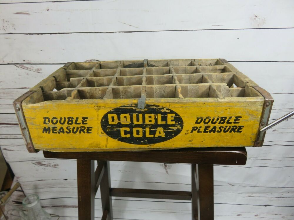 Very Rare Yellow Double Cola Double Measure Soda Crate Durabilt