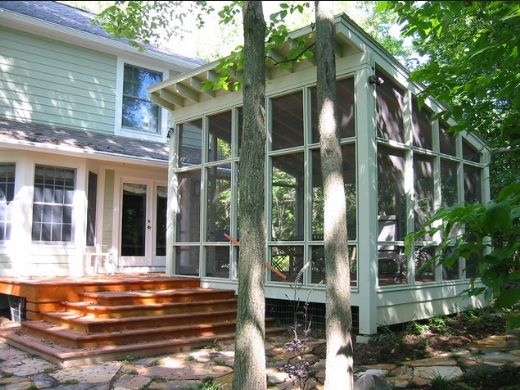 Detached Screened Porch With Slant Roof And Deck Connecting To House Pergola Patio Backyard Pergola