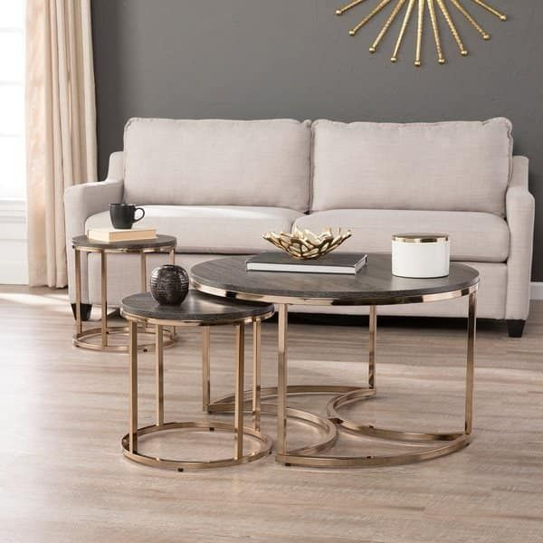 Silver Orchid Belle Round 3 Piece Nesting Coffee Table Set Espresso Champagne Table Decor Living Room Round Nesting Coffee Tables Sofa End Tables