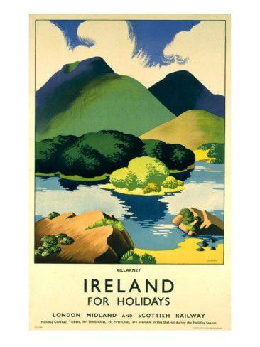 Ireland For Holidays Killarney Giclee Print Clodagh Sparrow Allposters Com Travel Posters Vintage Travel Posters Irish Travellers
