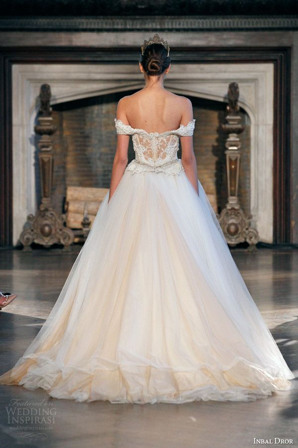 inbal dror fall winter 2015 bridal gown 26 ethereal off shoulder sleeves ball gown wedding dress back view