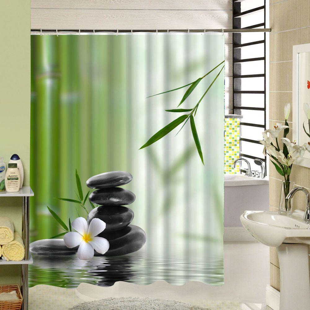 2017 New Zen Shower Curtain Stone Flower Green Bamboo Bathroom