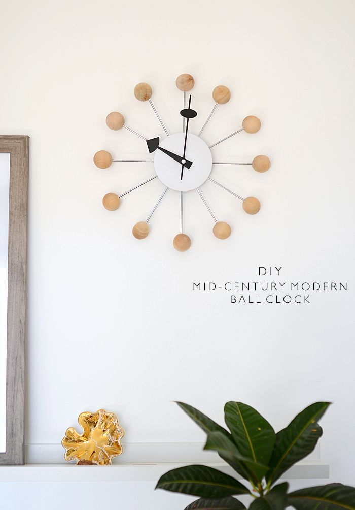 DIY Mid-Century Modern Ball Clock | Wanddeko | Pinterest | Diy uhr ...